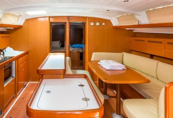 Sailing yacht wooden messroom interior